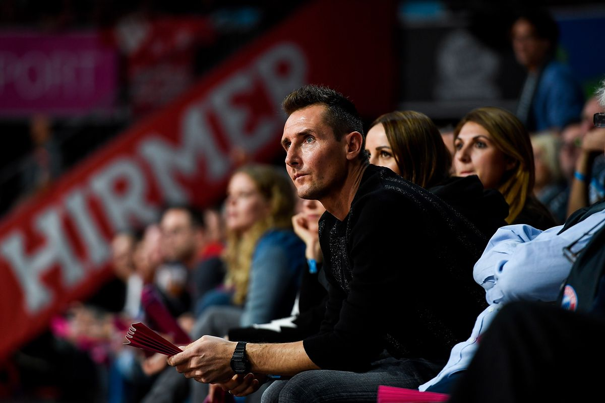 MUNICH, GERMANY - DECEMBER 21: Miroslav Klose, ex football player during the 2018/2019 Turkish Airlines EuroLeague Regular Season Round 14 game between FC Bayern Munich and Real Madrid at Audi Dome on December 21, 2018 in Munich, Germany.