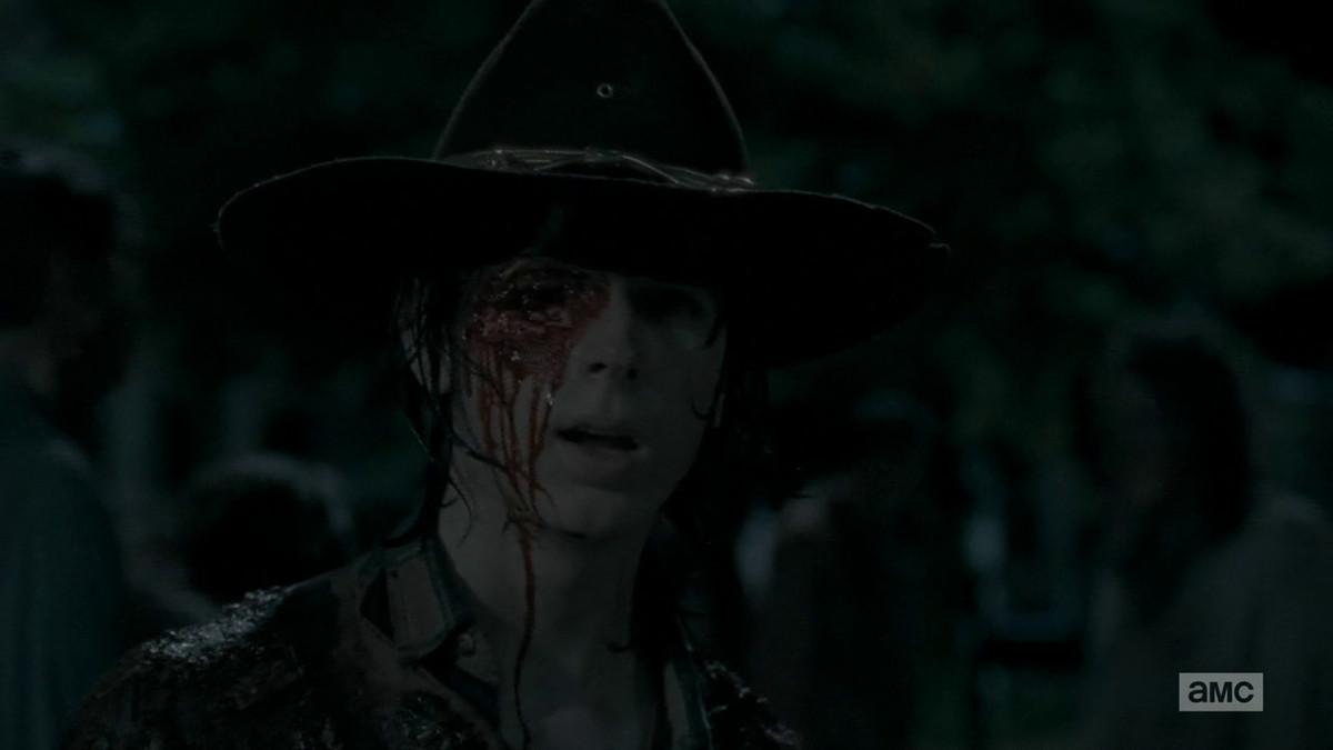 Carl gets shot through the eye on The Walking Dead.