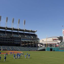 The Toronto Blue Jays take the field during workouts in preparation for tomorrow's opening day Major League baseball game against the Cleveland Indians at Progressive Field in Cleveland on Wednesday, April 4, 2012.
