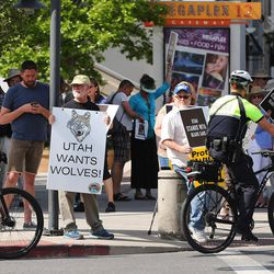 Demonstrators rally outside the BLM offices as Sen. Orrin Hatch, R-Utah, meets with Secretary of the Interior Ryan Zinke during a listening tour of Utah monuments in Salt Lake City on Sunday, May 7, 2017.