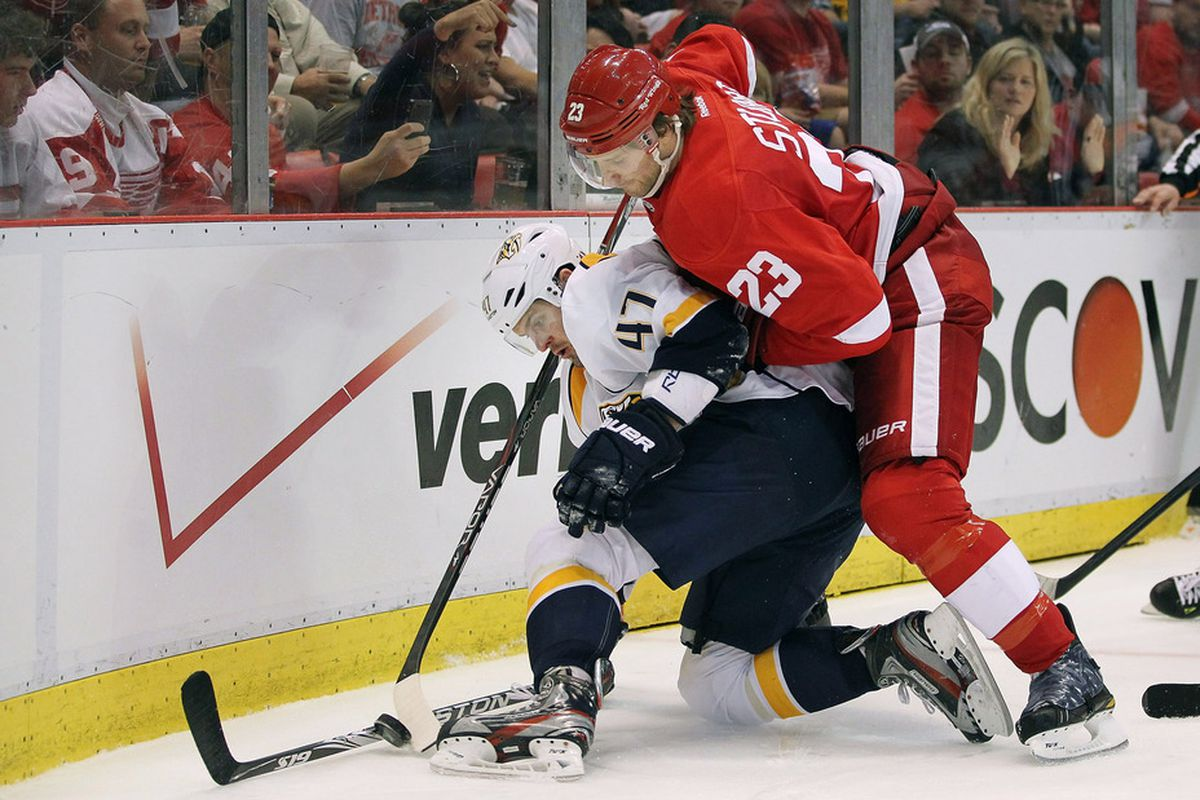 On October 12, this picture won't make any sense to people who are watching their first ever Wings-Preds game.