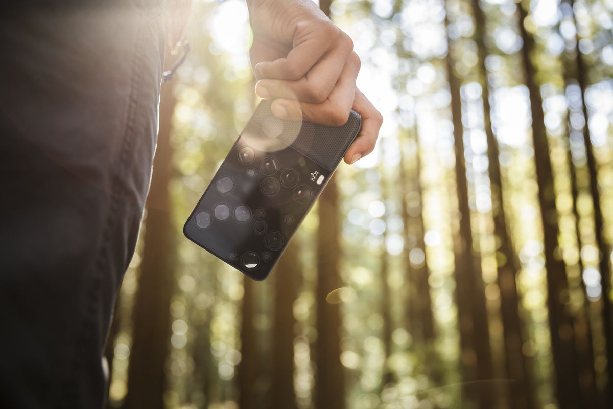 A hand holding a phone in a forest; the phone is in sharp focus and the background is blurred with an effect called bokeh.