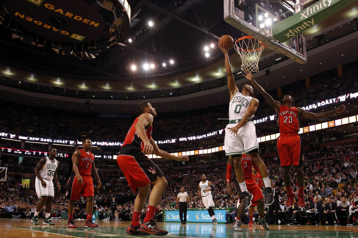 Avery Bradley goes for the dunk against the Toronto Raptors