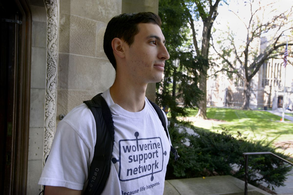 University of Michigan senior and Wolverine Support Network Executive Director Jordan Lazarus walks on campus in Ann Arbor. Mich., on Sept. 12, 2018. The peer-to-peer group is designed to empower students to create a safe community in support of mental we