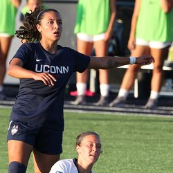 UConn's Jessica Mazo #6 during the New Hampshire Wildcats vs the UConn Huskies exhibition women's college soccer game at Morrone Stadium at Rizza Performance Center in Storrs, CT, on Saturday August 14, 2021.