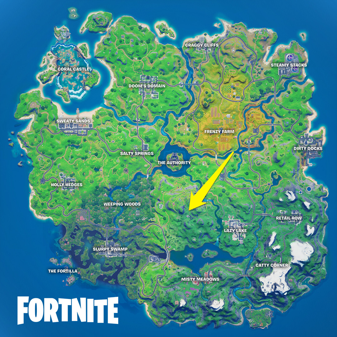 Location of Sentinel hands on the Fortnite map
