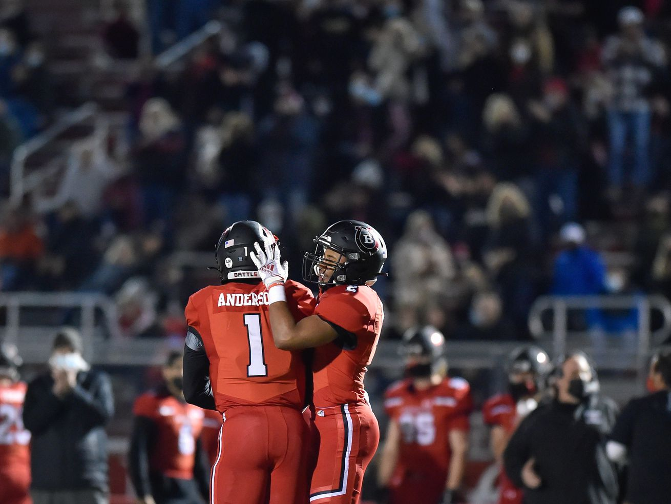Barrington's Bryan Smith (2) celebrates with Peter Anderson (1) during the game against Fremd.