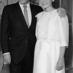 Mia Farrow's July 19th, 1966 marriage to Frank Sinatra may have wilted after two years, but her bridal outfit —  a clean and simple knee-length dress and matching jacket — still feels fresh today.