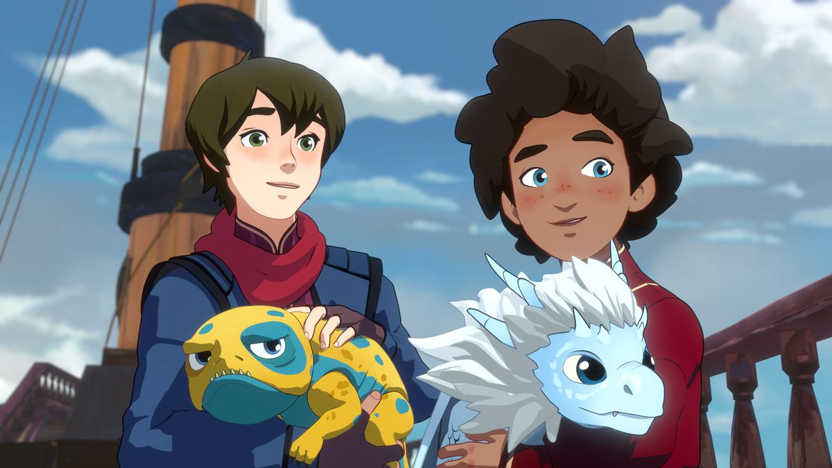 The Dragon Prince - Callum, Ezran, Bait, and Zym.