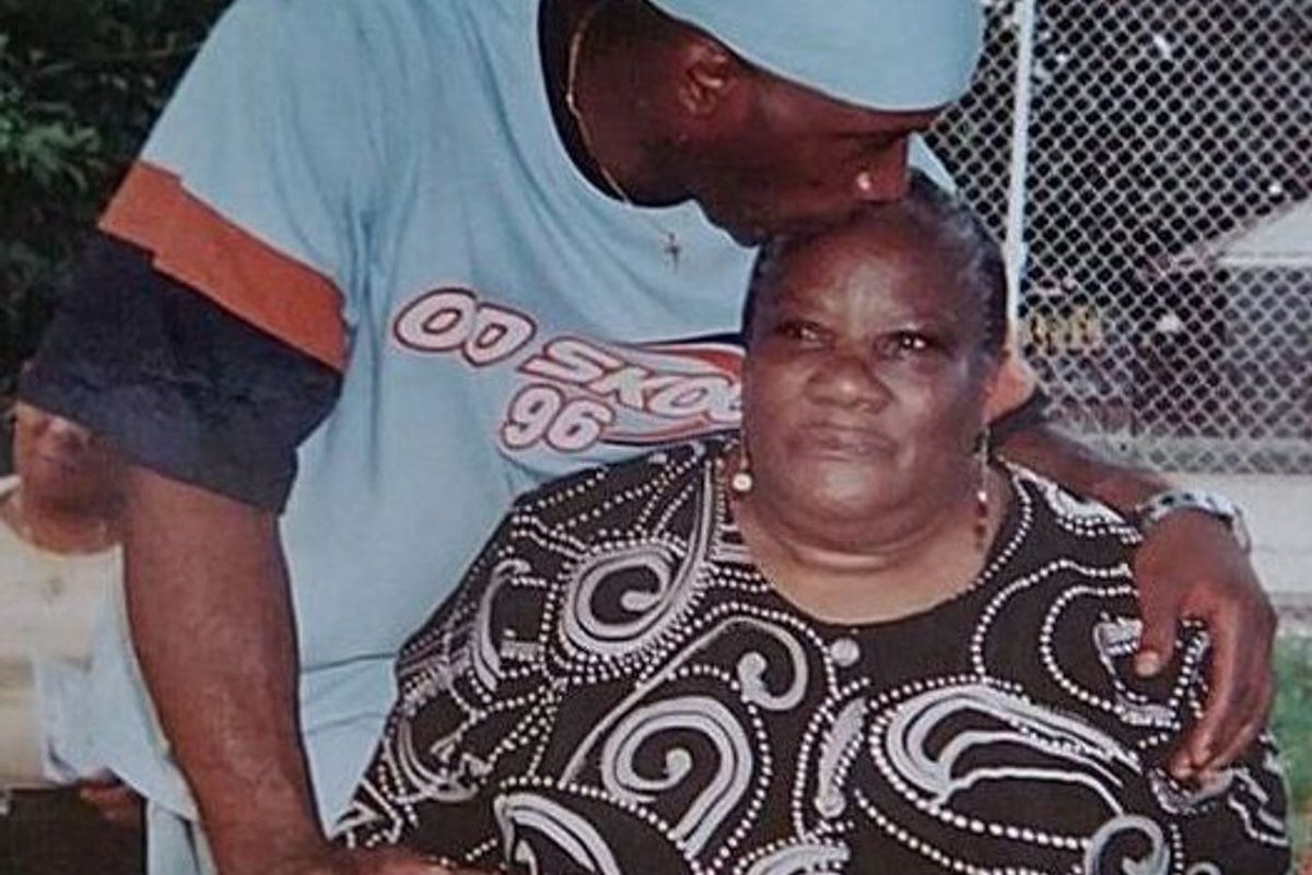 Yvette Judge, who passed away from the coronavirus, with one of her sons, Anthony Judge.