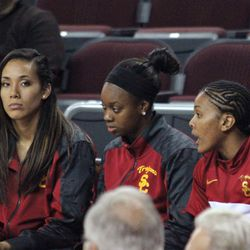 Starters Kiki Alofaituli (left) and Ariya Crook (right) were relegated to the end of the bench with transfer Alexis Lloyd.