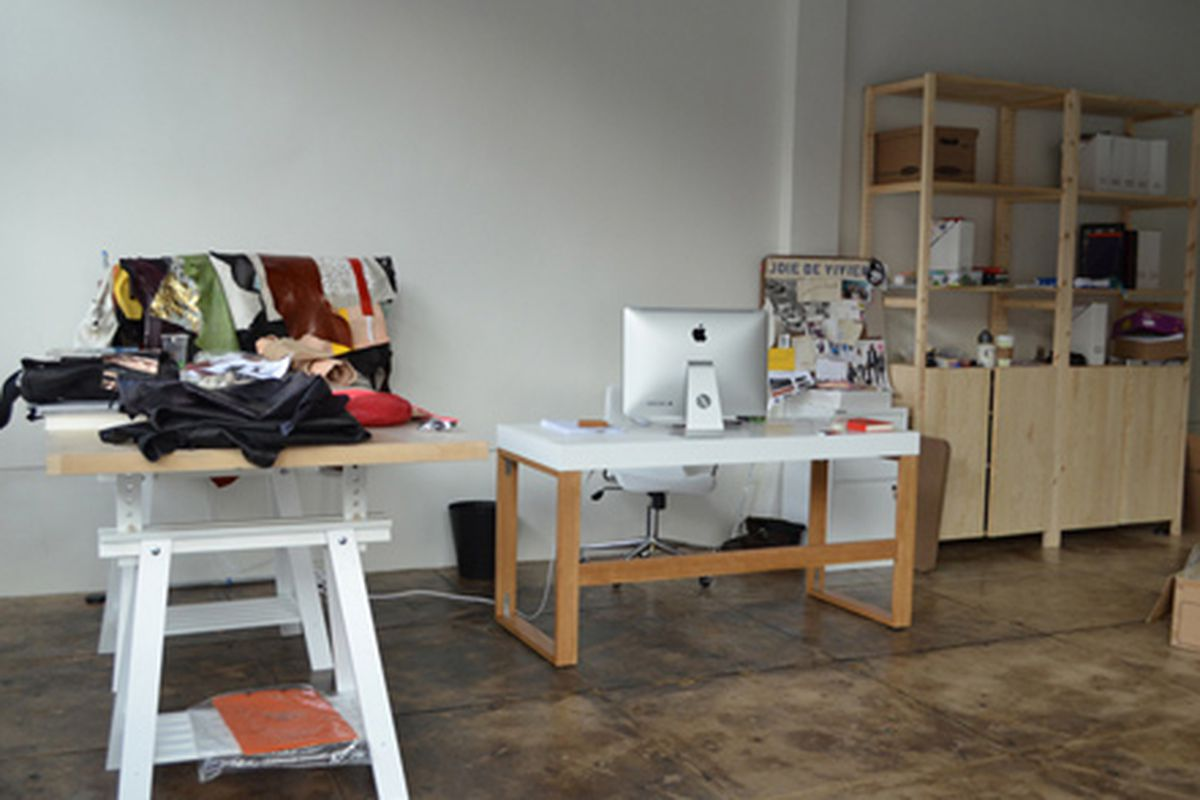 "Clare Vivier's studio. Photo via <a href=""http://blog.stevenalan.com/2012/02/17/new-clare-vivier/"">Inside Steven Alan</a>."