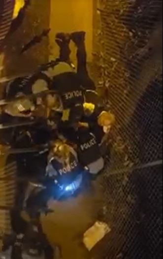 In this image from a video shot Aug. 29, several Chicago police officers are attempting to take the squatter, a man with a history of apparent mental health issues, to a hospital for a psychiatric evaluation.