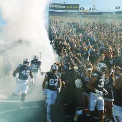 Brigham Young Cougars enter the stadium  in Provo on Saturday, Nov. 12, 2016.
