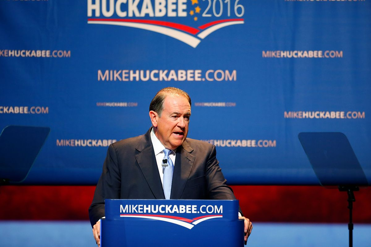 Former Arkansas Gov. Mike Huckabee speaks as he officially announces his candidacy for the 2016 presidential race on May 5.