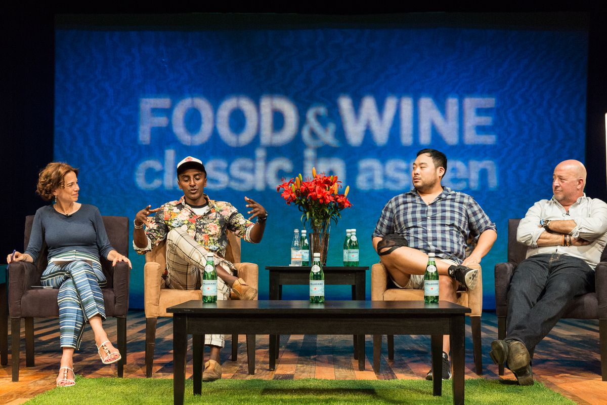 Futurists Panel, left to right: Dana Cowin, Marcus Samuelson, David Chang, Andrew Zimmern