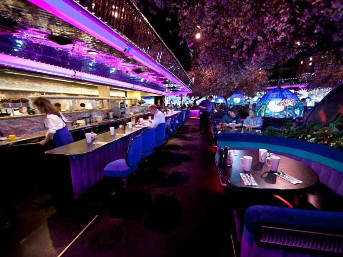 Neon lights inside of a diner