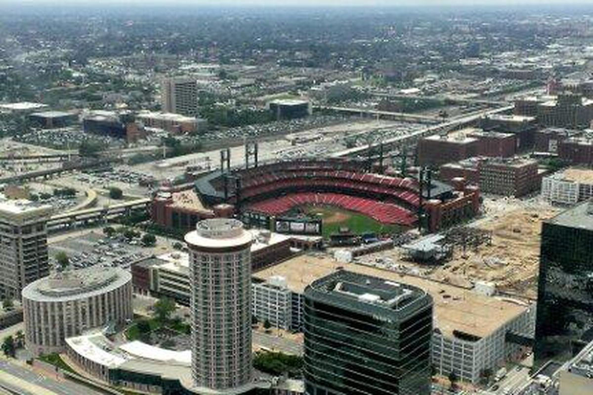 View of the new Busch Stadium from 630 feet at the top of the Arch. Very cool