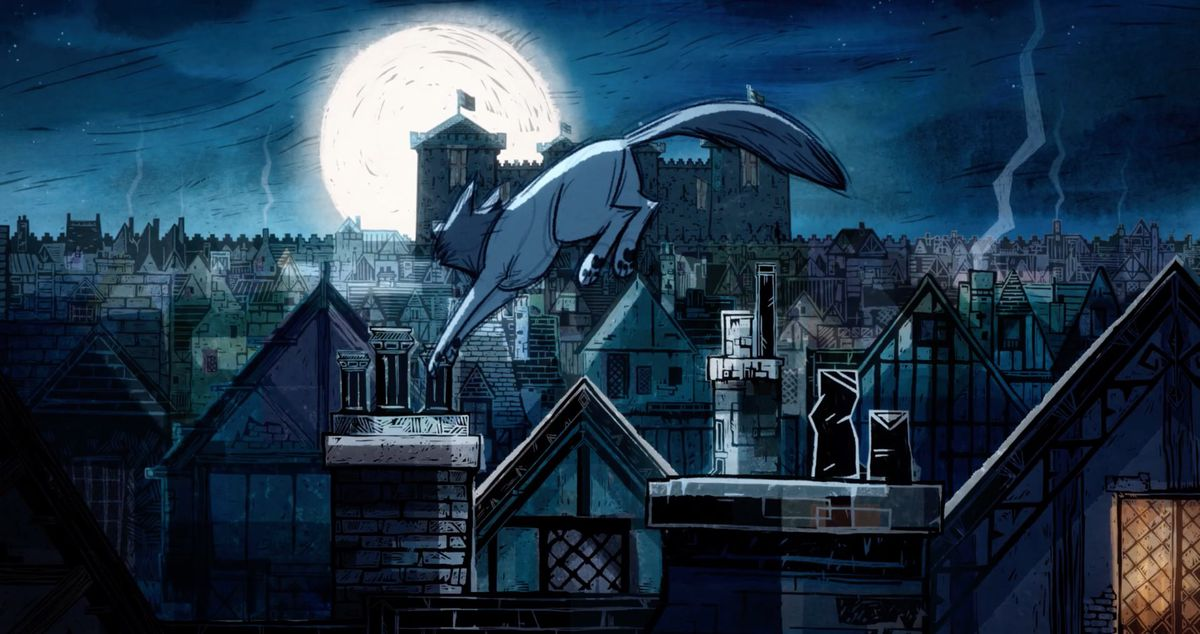 A wolf leaping over rooftops at night.