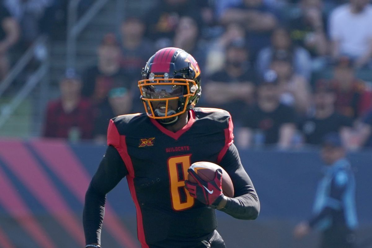 LA Wildcats quarterback Josh Johnson carries the ball in the second quarter against the Dallas Renegades at Dignity Health Sports Park. The Renegades defeated the Wildcats 25-18.