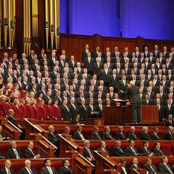 The Mormon Tabernacle Choir sings at the morning session of the 183rd Semiannual General Conference of the Church of Jesus Christ of Latter-day Saints Sunday, Oct. 6, 2013, in Salt Lake City.