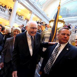 Elder L. Tom Perry, a member of the Quorum of the Twelve Apostles of The Church of Jesus Christ of Latter-day Saints, leaves after Gov. Gary Herbert signed SB296 at the Capitol in Salt Lake City on Thursday, March 12, 2015.