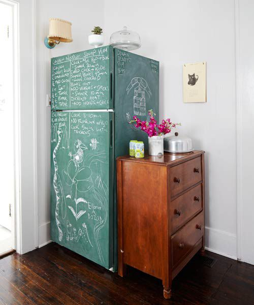 """<h2>2. Refrigerator</h2> <p><a href=""""https://www.thisoldhouse.com/ideas/7-charming-diy-home-change-ups-cheap"""" target=""""_blank"""">When we featured this paint idea</a> in the magazine, readers were intrigued. Many parents thought it would be a fun upgrade for the kids.</p>"""