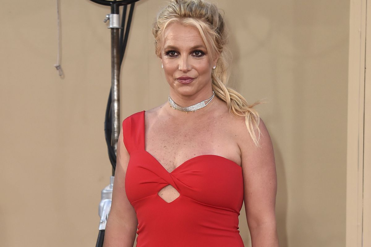"""Britney Spears arrives at the Los Angeles premiere of """"Once Upon a Time in Hollywood."""" Spears' father, Jamie Spears, has filed a petition to end his daughter's court-ordered conservatorship,"""