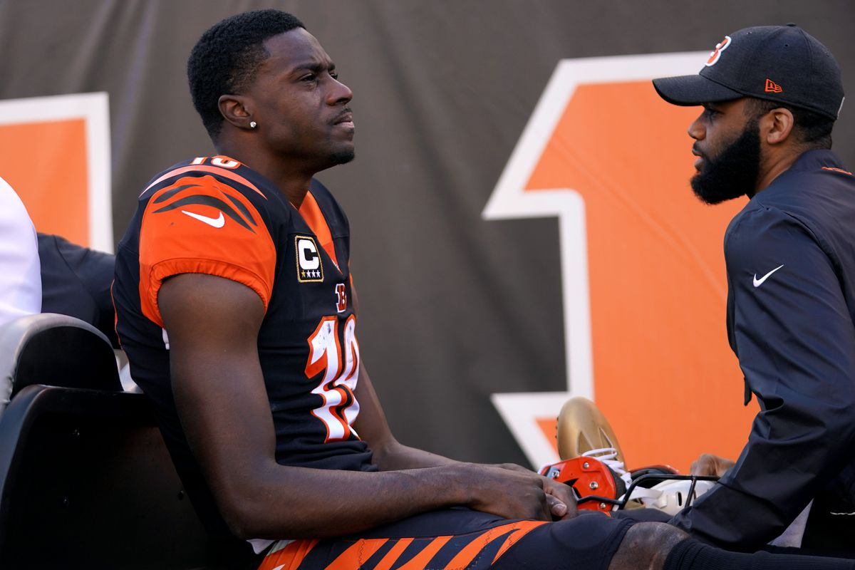 Cincinnati Bengals wide receiver A.J. Green is carted off the field after sustaining an injury in the game against the Denver Broncos in the first half at Paul Brown Stadium.