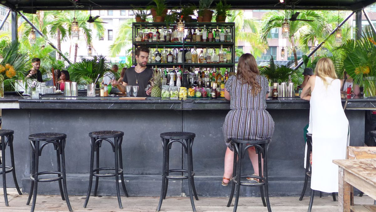 A bar with lots of tequilas and mezcals, and at 7 p.m., lots of seating available.