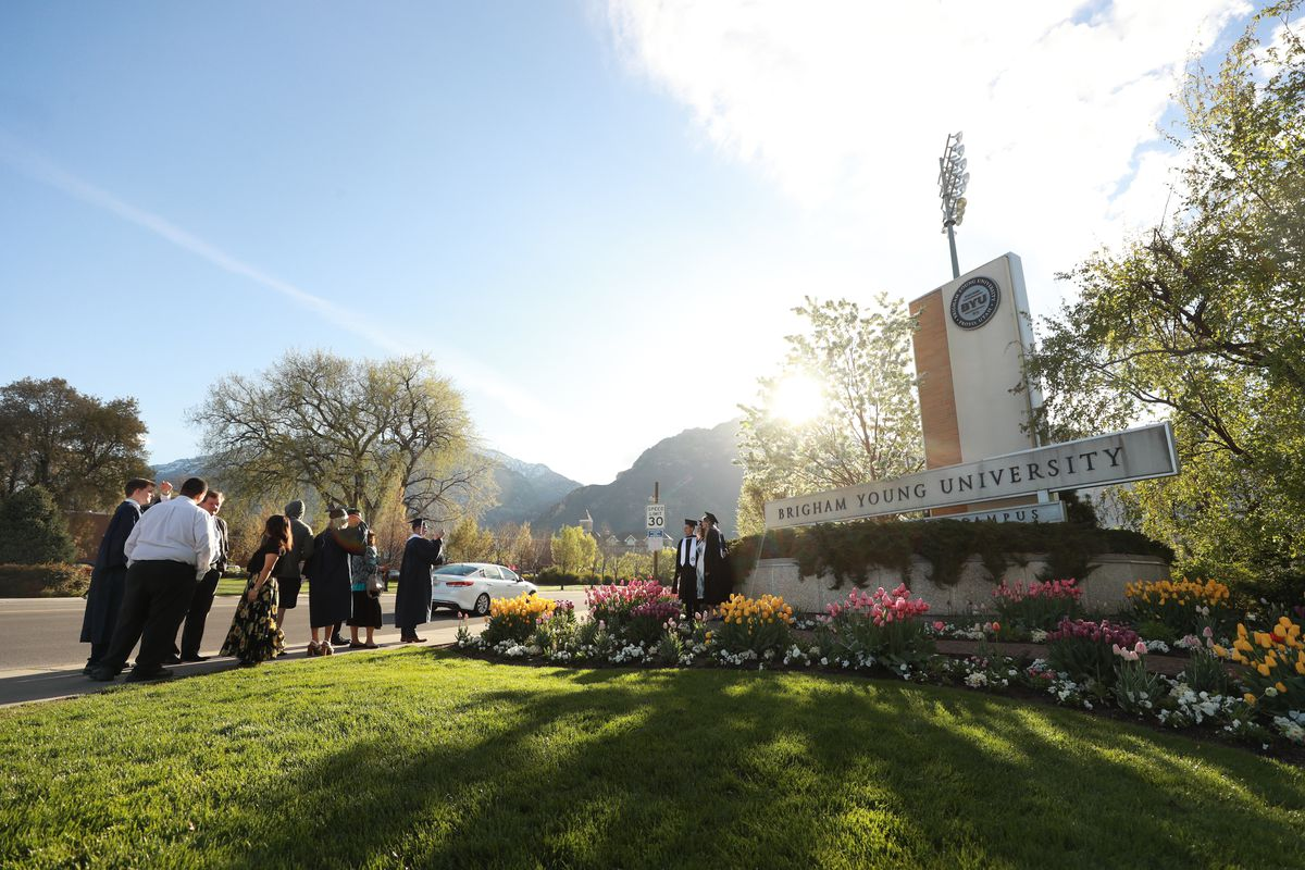 Graduates, family and friends gather on campus prior to the April 25, 2019, commencement exercises at Brigham Young University.