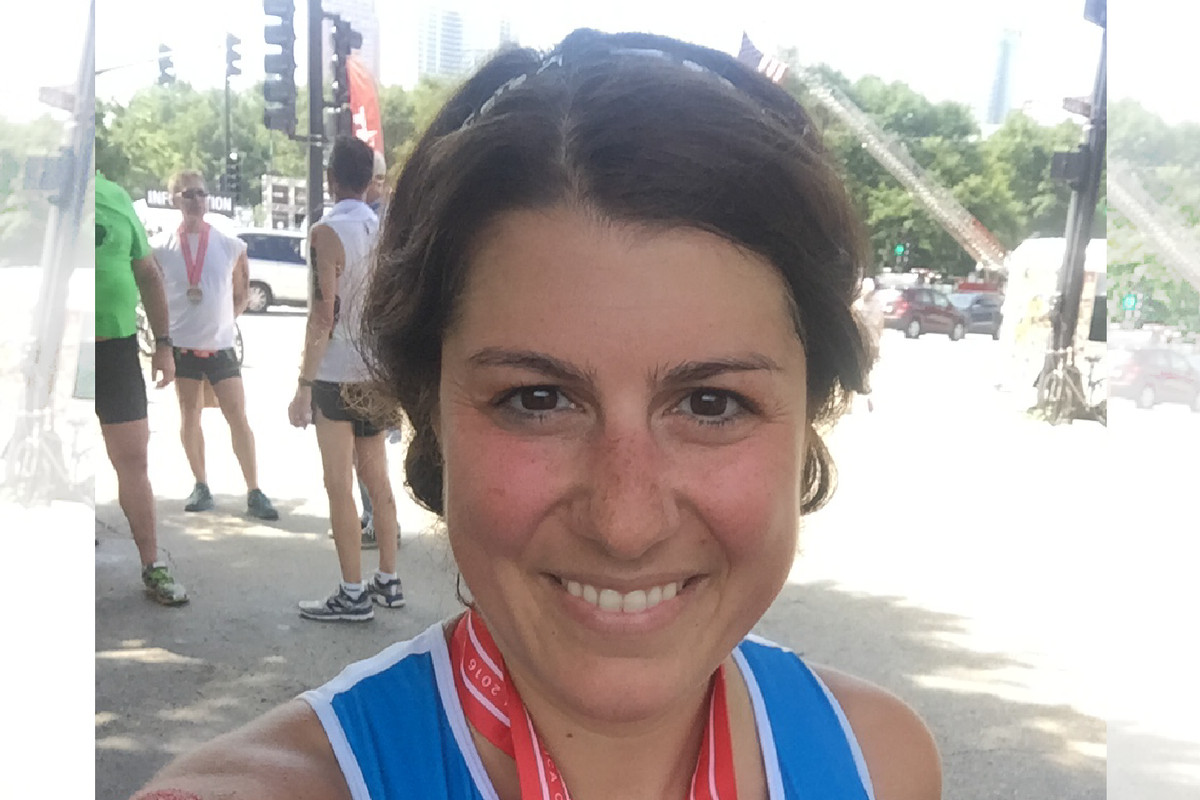 """""""My favorite professor gave me an important piece of advice to live by: 'If you don't take care of yourself, you cannot take care of others.'"""" Running is one of Lisa Caputo Love's non-teaching hobbies."""