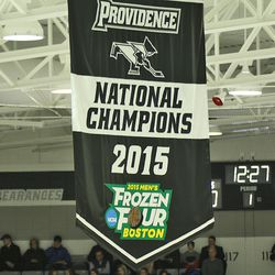Providence's 2015 Championship banner hangs over the ice at Schneider Arena.