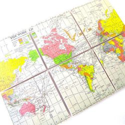 """Antique world map coasters, <a href=""""http://www.etsy.com/listing/153390869/world-map-coasters-set-of-6-from-an?ref=shop_home_feat"""">$40</a> at <a href=""""http://www.etsy.com/shop/Juanitas?ref=l2-shopheader-name"""">Juanitas</a>"""