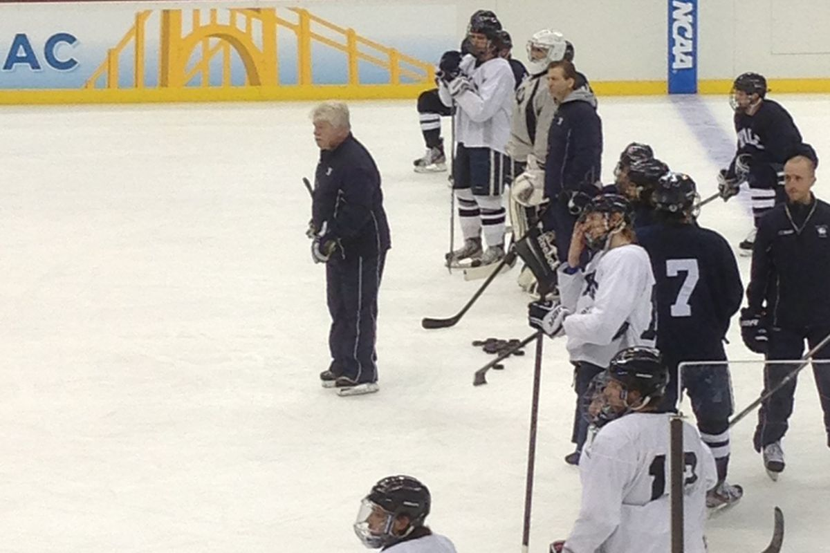 Red Gendron, seen here leading Yale's practice at the Frozen Four in Pittsburgh last month.