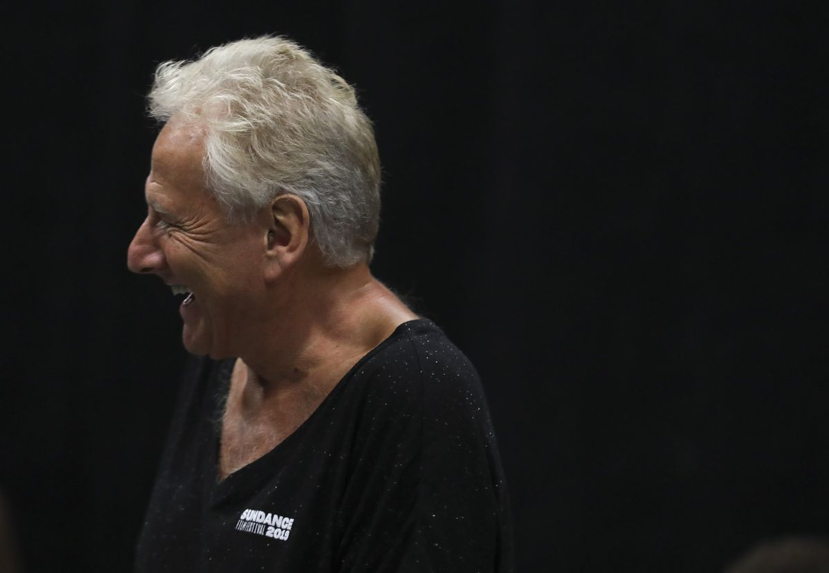 """Air Supply's Graham Russell laughs with actors during rehearsal for the musical """"A Wall Apart"""" at the TV studio on the Salt Lake Community College campus in Salt Lake City on Tuesday, July 30, 2019."""