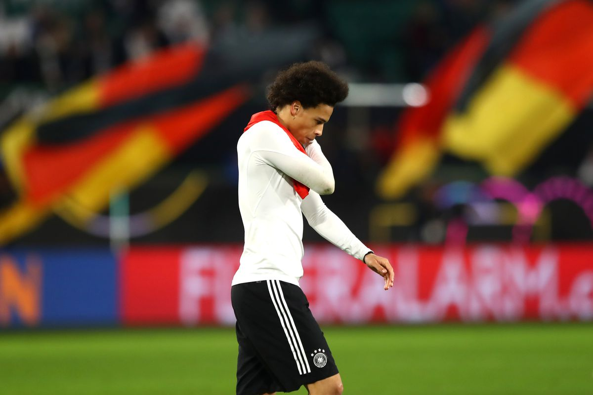 WOLFSBURG, GERMANY - MARCH 20: Leroy Sane of Germany looks dejected following his team's draw in the International Friendly match between Germany and Serbia at Volkswagen Arena on March 20, 2019 in Wolfsburg, Germany.