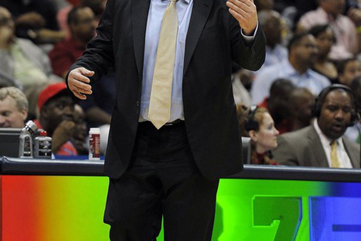 Mar 28, 2012; Atlanta, GA, USA; Chicago Bulls head coach Tom Thibodeau coached against the Atlanta Hawks during the second half at Philips Arena. The Bulls won 98-77. Mandatory Credit: Paul Abell-US PRESSWIRE