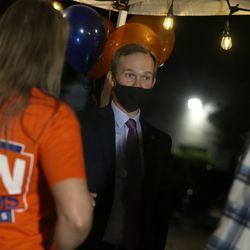 Rep. Ben McAdams, D-Utah, speaks with Caitlin Dunipace and David Allen at Pat's Barbecue in Salt Lake City on election night, Tuesday, Nov. 3, 2020. McAdams is trying to win a second term and is being challenged by Republican Burgess Owens.