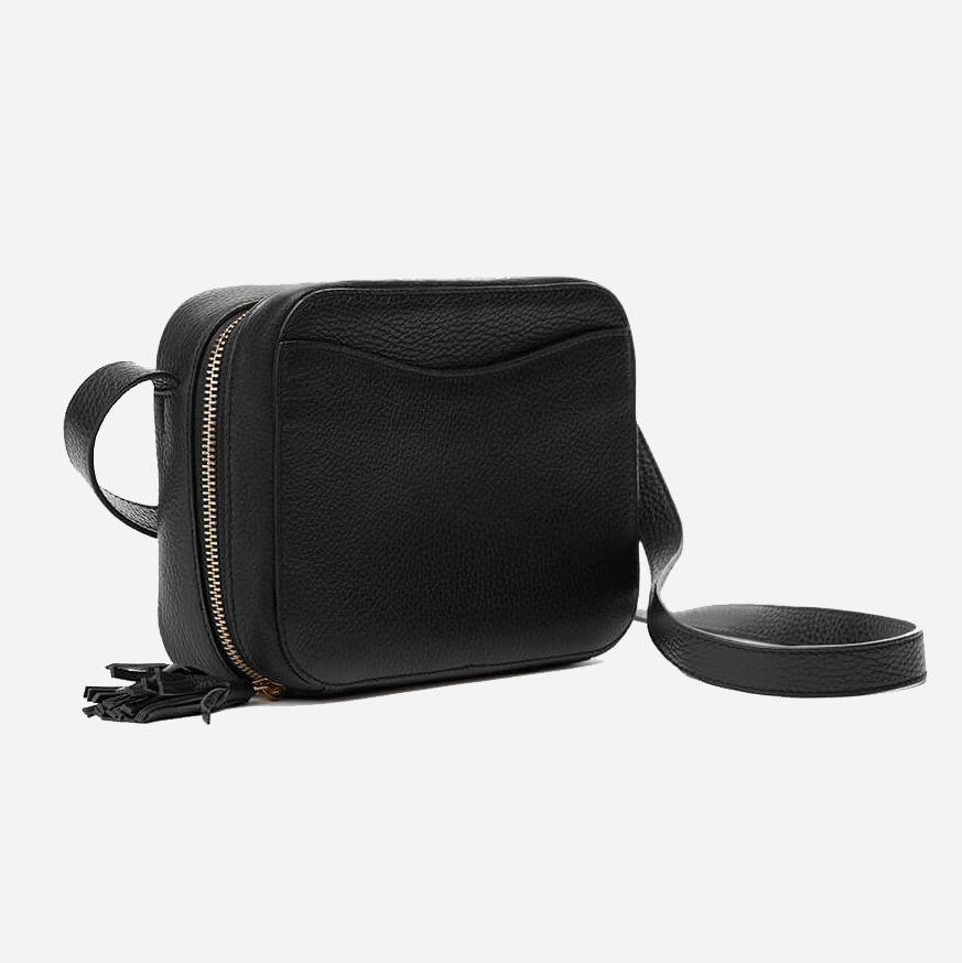 A black pebbled leather bag