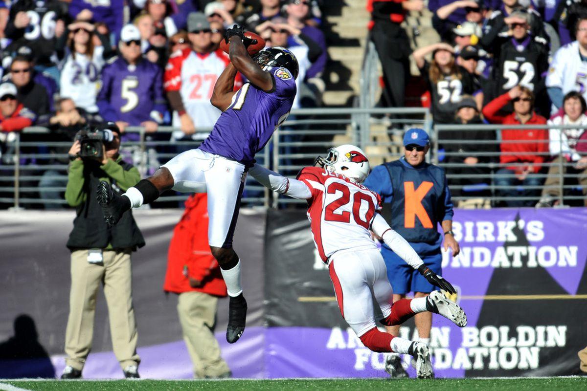 This is one of the two pictures left on here that has Anquan Boldin anywhere near a Cardinals uniform. (Photo by Larry French/Getty Images)