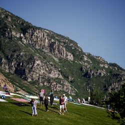 People begin to gather at Rock Canyon Park in Provo ahead of a fireworks display on Saturday, July 4, 2020.