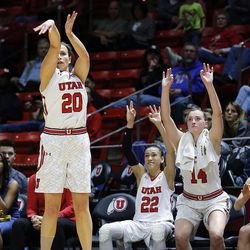Utah Utes guard Katie Kuklok (20) hits a 3-pointer against Montana State during NIT women's basketball action in Salt Lake City, Friday, March 18, 2016.