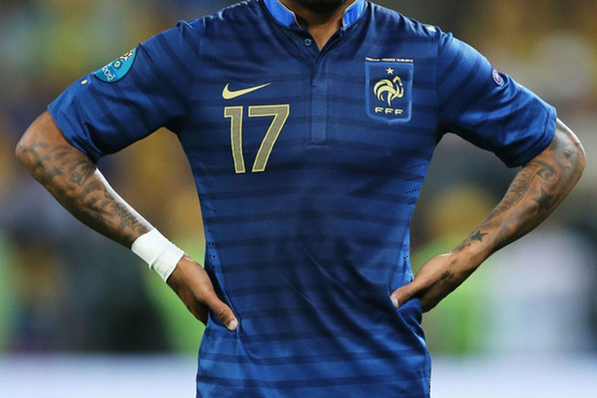 DONETSK, UKRAINE - JUNE 15:  Yann M'Vila of France reacts during the UEFA EURO 2012 group D match between Ukraine and France at Donbass Arena on June 15, 2012 in Donetsk, Ukraine.  (Photo by Ian Walton/Getty Images)
