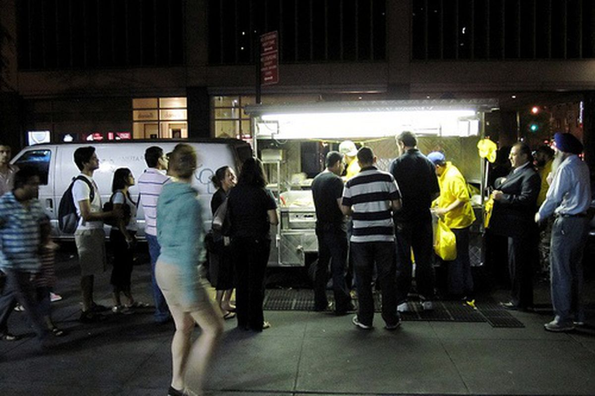 Line at Halal Cart on 53rd and 6th