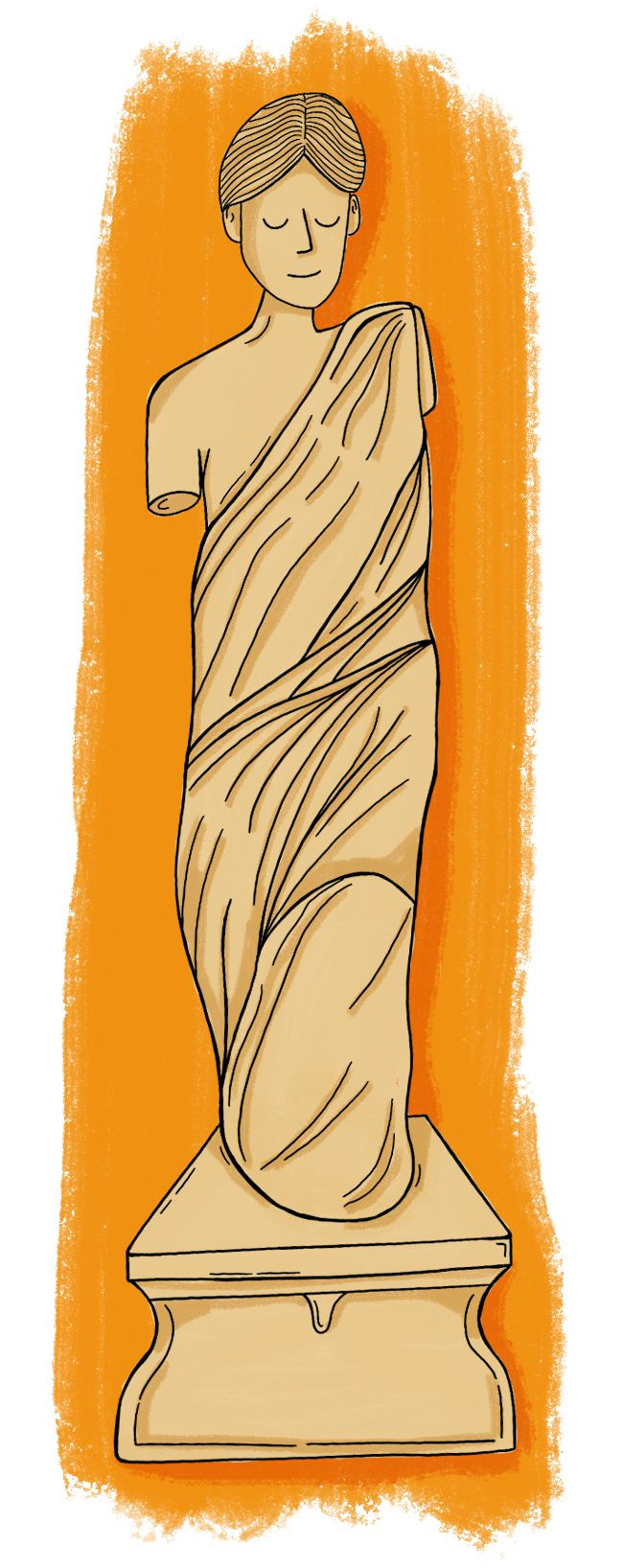 An illustration of a statue of a woman.