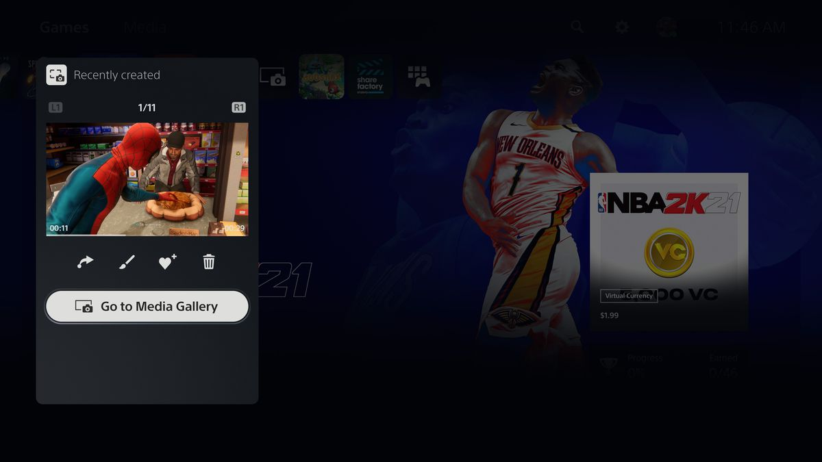 """a screenshot of the """"Recently created"""" pop-up on a PS5, with the """"Go to Media Gallery"""" shortcut highlighted, floating above the PS5 games dashboard with NBA 2K21 selected"""