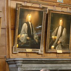 Portraits hang in Christ Church, Oxford University, in England on June 14, 2017. The hall was used in the Harry Potter films.