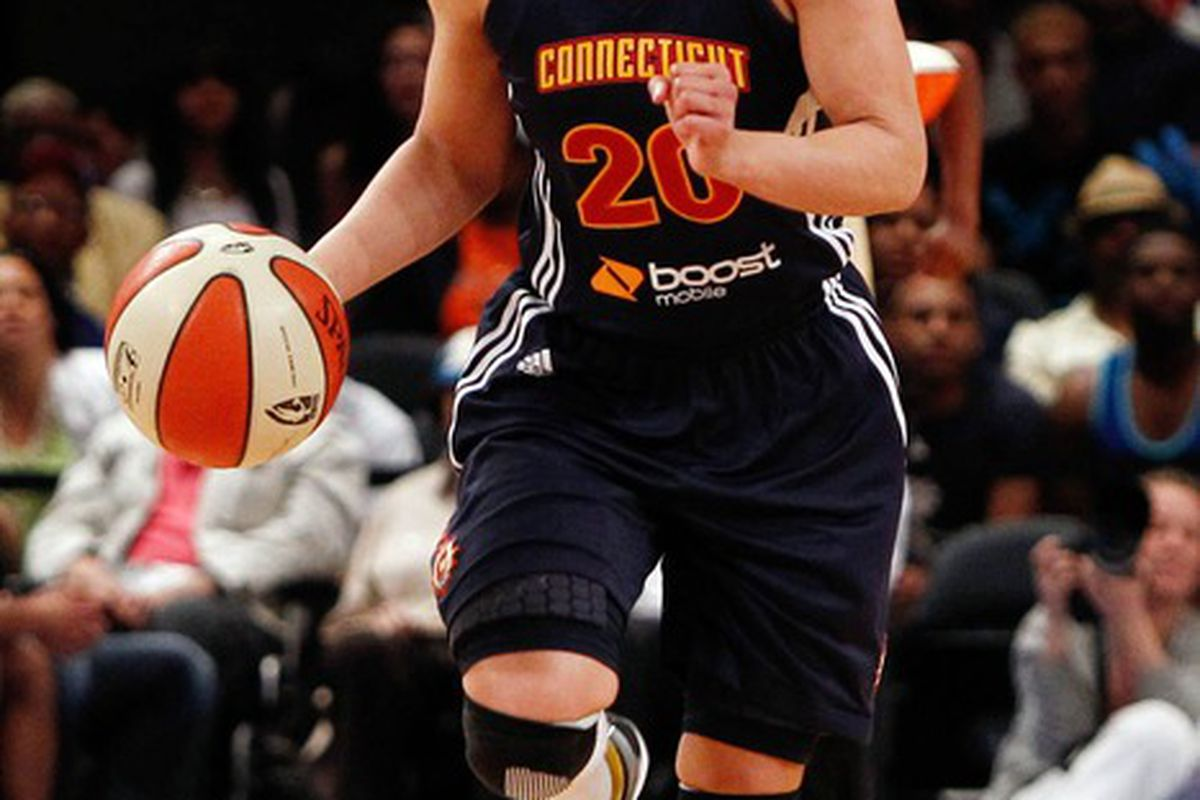 May 19, 2012; New York, NY, USA; Connecticut Sun guard Kara Lawson (20) dribbles the ball against the New York Liberty during the first half at Madison Square Garden. Mandatory Credit: Debby Wong-US PRESSWIRE