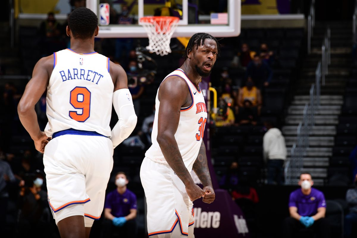 Julius Randle of the New York Knicks celebrates during the game against the Los Angeles Lakers on May 10, 2021 at STAPLES Center in Los Angeles, California.